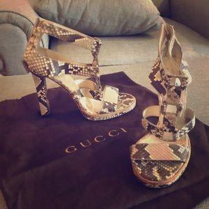 Authentic Gucci snakeskin gladiator heels- sz 38/8